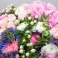 Букет из гортензий, ранункулюсов, кустовых роз, гиперикума и лимониума